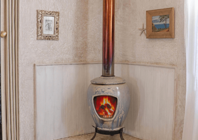 Kenton on sea Beach Cottages Accommodation – Out of the Blue – Fireplace